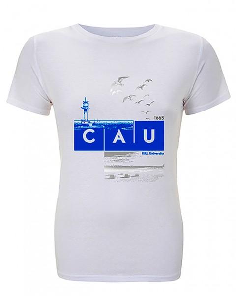 T-Shirt CAU maritim Damen weiß/Glitzerdruck